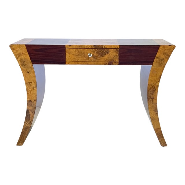 Vintage Italian Rosewood and Burlwood Console or Desk For Sale