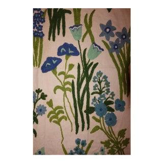 Vintage Stroheim & Romann Blue Floral Crewel Fabric For Sale