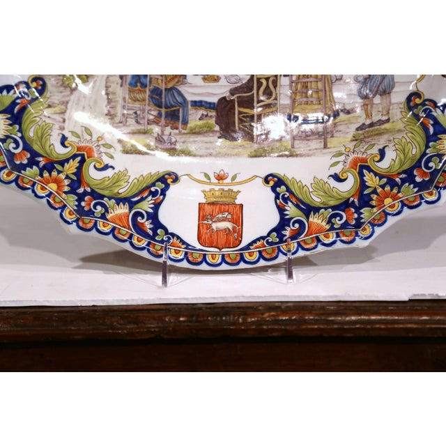 Blue Large 19th Century French Hand-Painted Oval Faience Wall Platter From Brittany For Sale - Image 8 of 12
