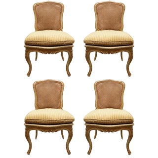 18th C. French Painted Cane-Back Chairs Set of 4 For Sale