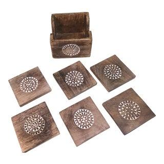 Boho Wood Coasters With Box - Set of 6 For Sale