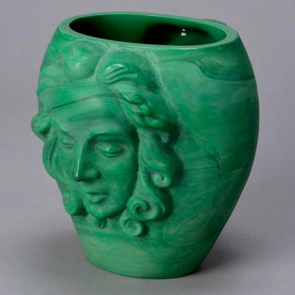 Art Deco Era Bohemian Malachite Glass Vase with Faces For Sale - Image 4 of 6