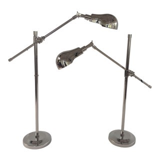 Chrome Industrial Adjustable Table / Desk Lamps - a Pair For Sale