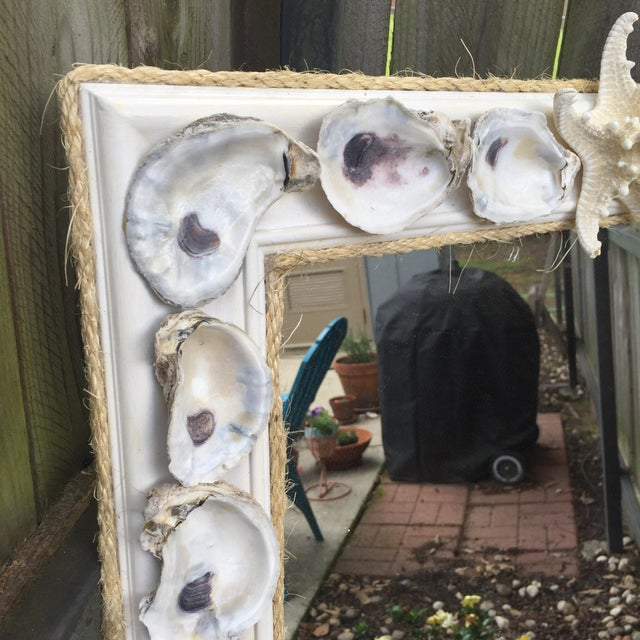 Oyster Shell Wood Framed Mirror with Shelf - Image 4 of 5