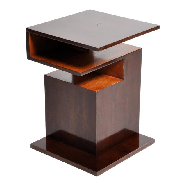Hungarian Walnut and Maple Veneer Side Table With Shelves For Sale