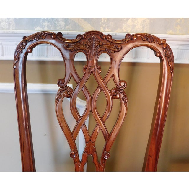 Mahogany 1990s Reproduction Solid Mahogany Chippendale Style Dining Chairs - Set of 10 For Sale - Image 7 of 11