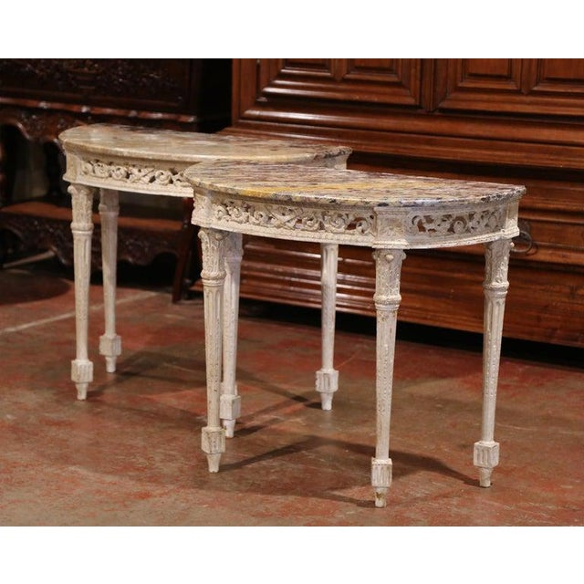 Pair of 19th Century Louis XVI Carved Painted Demilune Consoles With Marble Top For Sale - Image 10 of 10