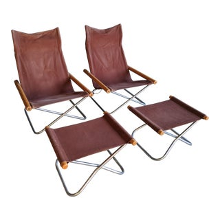 "Takeshi Nii for Trend Pacific ""ny"" Folding Chairs & Ottomans, Set of 4 For Sale"