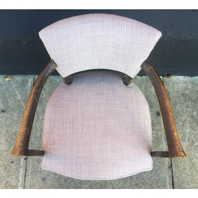 Set of Four Lavender Linen Armchairs For Sale In San Francisco - Image 6 of 7