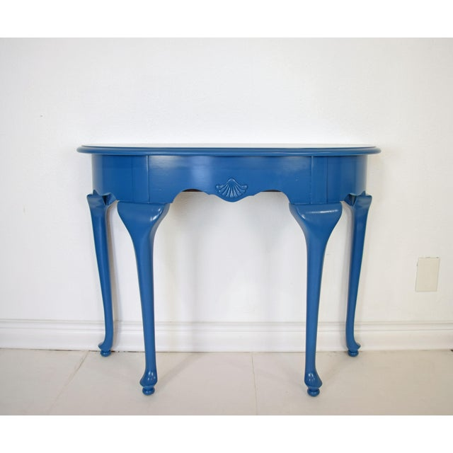 Queen Anne Half-Moon Shape Blue Console Table For Sale - Image 9 of 9