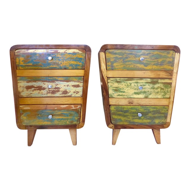 1950's Style Distressed Finish Wood Nightstands -A Pair - Image 1 of 10