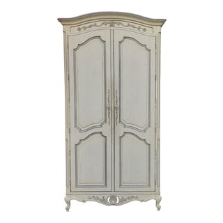 Painted White Century Furniture French Provincial Double Door Bedroom Tv Armoire Cabinet C1990s For Sale