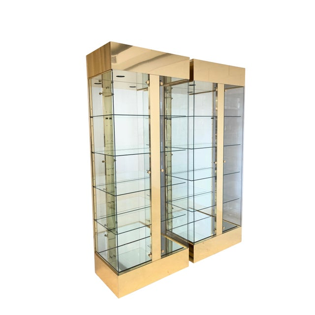 Pair of Lighted Brass and Glass Curios/ Display Cabinets For Sale - Image 9 of 9