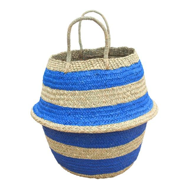"""Brunna """"Stripes Tribes"""" Straw Basket Bag, in Blue For Sale"""