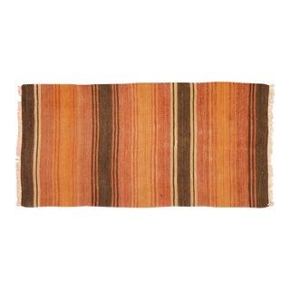 """1950s Turkish Brown and Burnt Orange Wool Kilim Rug - 2'1""""x4'3"""""""
