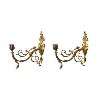 1900s Large French Brass Sconces - a Pair For Sale