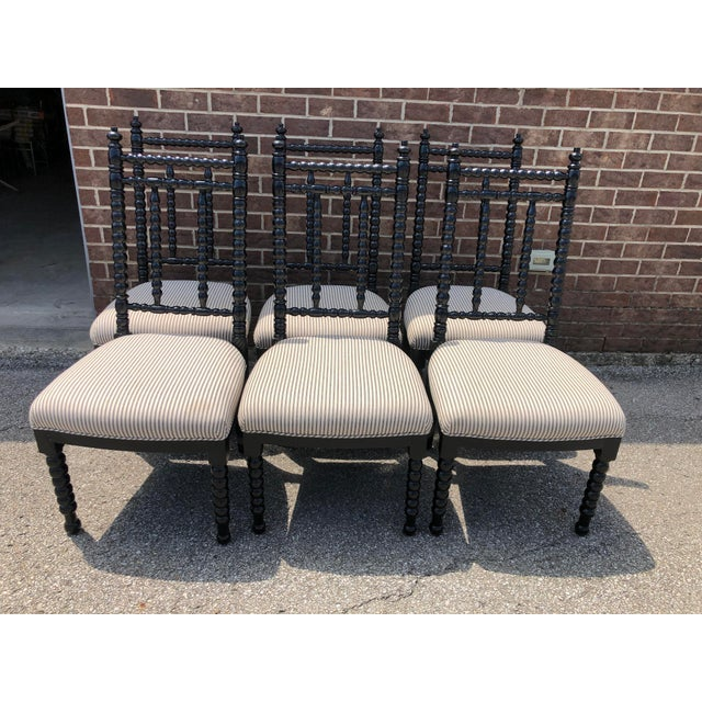 Wood Black Wood Barley Twist Dining Chairs - Set of 6 For Sale - Image 7 of 7