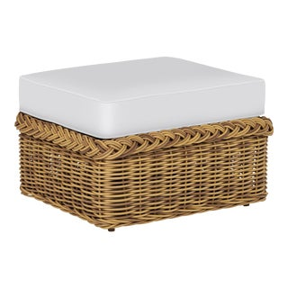 Wicker Works Classic Ottoman in Natural For Sale
