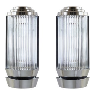 Art Deco Pillar Sconces in Glass & Nickel by Atelier Petitot, Pair For Sale