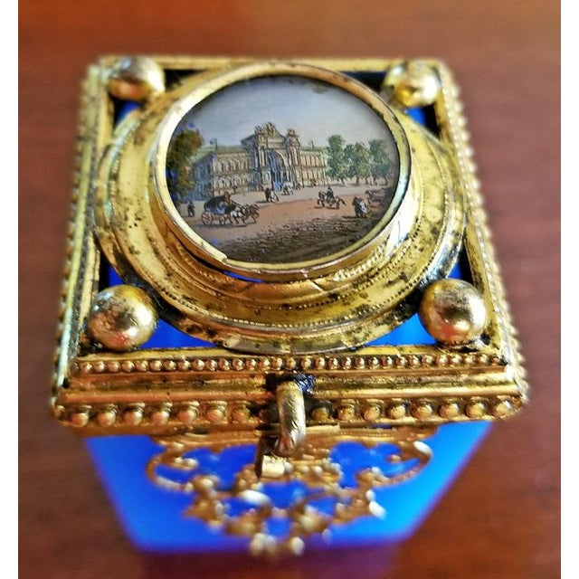 Gold 19c Continental Turquoise Glass Box With Miniature of Palace Scene For Sale - Image 8 of 8
