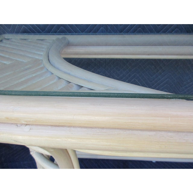Glass Top Rattan Demi-Lune Console Table For Sale - Image 6 of 10