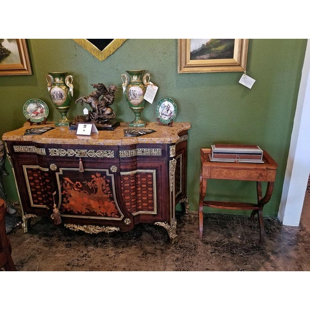 Burlwood 18c French Provincial Burl Walnut Lyre Work Table For Sale - Image 7 of 13