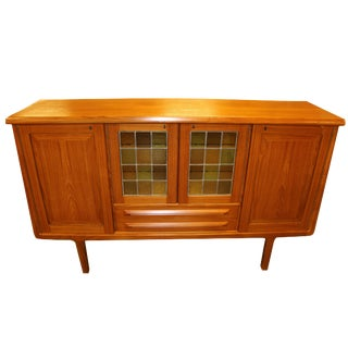 1960s Vintage Mid-Century Danish Modern Teak With Glass Door Credenza Bar