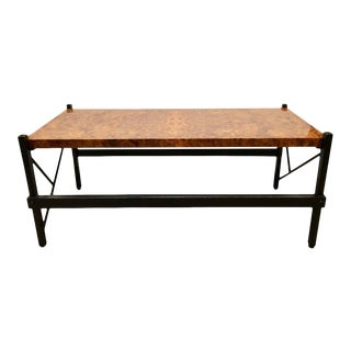 Pace Modern Coffee or Low Table Burl-Veneer Wood Top Metal Base For Sale