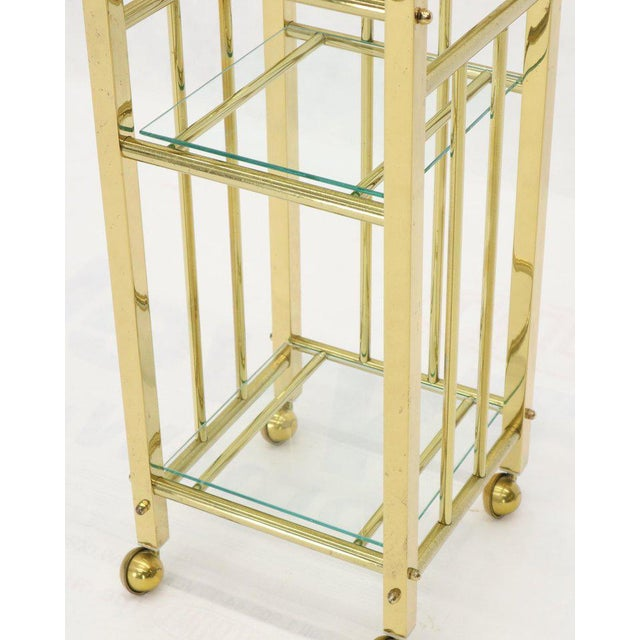 Mid-Century Modern Brass and Glass Square Stand Table Cart Pedestal on Wheels For Sale In New York - Image 6 of 13