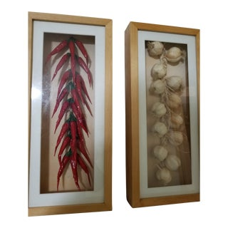 Trompe-L'œil Garlic & Hot Pepper Art - a Pair For Sale