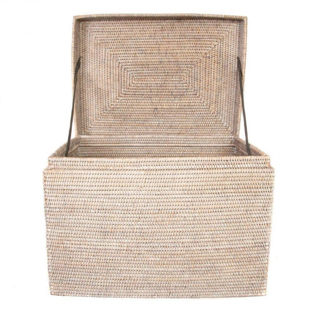 """Boho Chic Artifacts Rattan Rectangular Hinged Chest 28""""x20""""x18"""" For Sale - Image 3 of 5"""