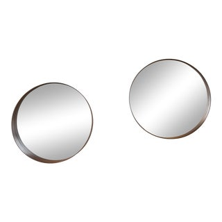 Mid-Century Danish Modern Round Mirrors - a Pair For Sale