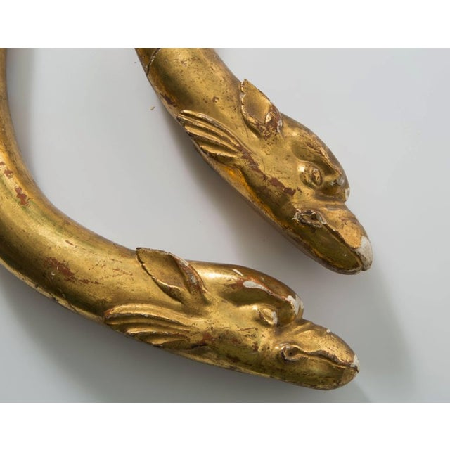Gold Leaf 18th Century Gold Leaf Dolphin Shaped Ornaments - a Pair For Sale - Image 7 of 11