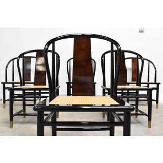 Vintage Black Lacquer & Cane Dining Chairs by Henredon - Set of Six Preview
