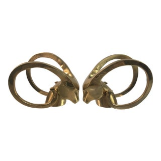 1970s Vintage Ibex Brass Bookends- A Pair For Sale