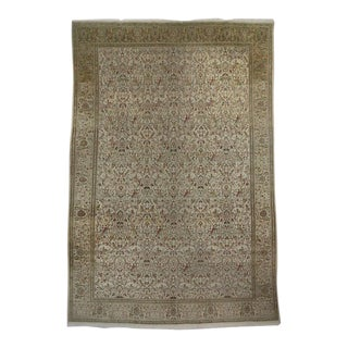 Vintage Persian Tabriz Gallery Rug with Soft, Neutral Colors