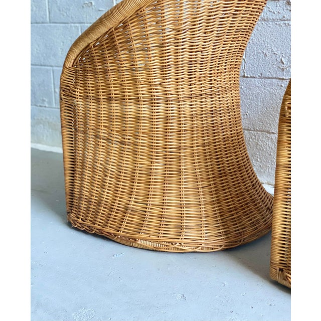 Brown 1960s Trompe L' Oeil Wicker Rattan Dining Set – 5 Pieces For Sale - Image 8 of 11