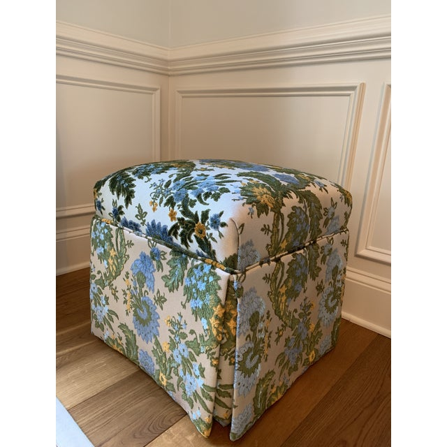 Vintage Mid Century Skirted Parsons Stool For Sale - Image 10 of 10