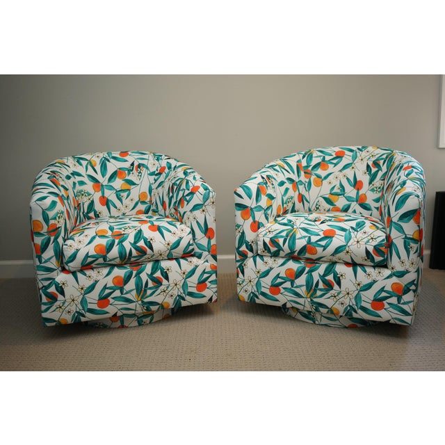 Vintage Mid-Century Baughman Style Swivel Chairs- A Pair For Sale - Image 10 of 10