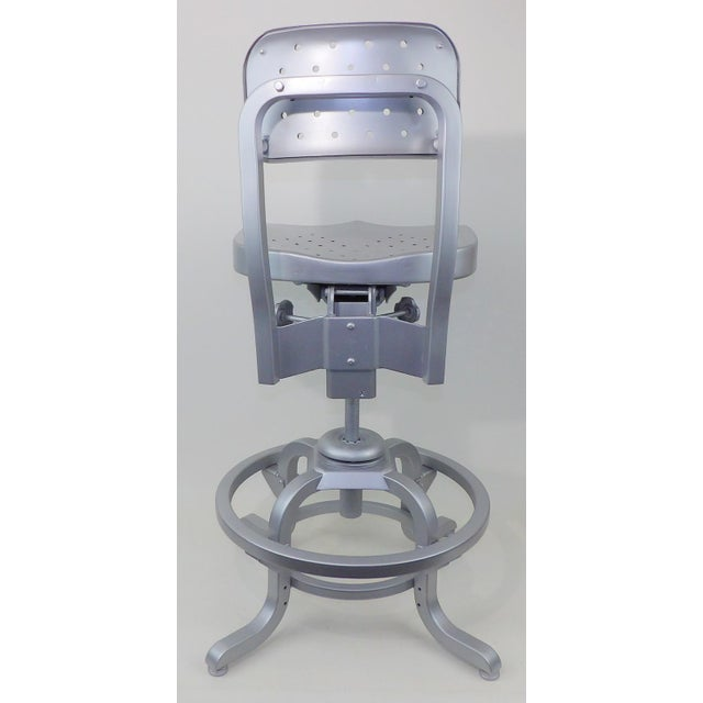Good Form Mid-Century Modern Industrial Aluminum Drafting Swivel Stool Chair - Image 6 of 11