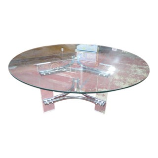 Vintage Mid Century Modern Round Glass, Lucite, and Chrome Coffee Table For Sale