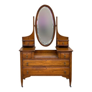Early 20th Century Dresser Vanity With Mirror For Sale