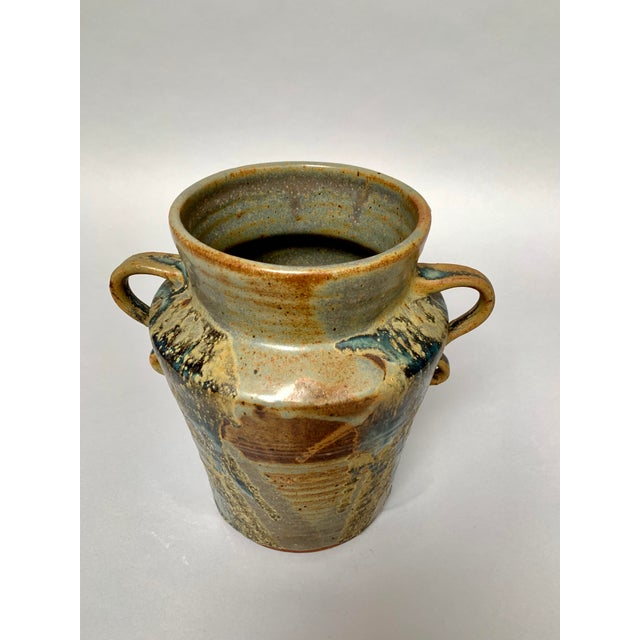 Clay 1970s Vintage Two-Handled Studio Pottery Vase For Sale - Image 7 of 12