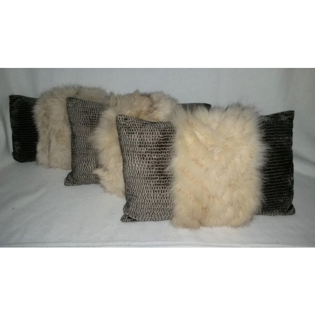 2010s Contemporary White Fox and Silvery Green Pillow For Sale - Image 5 of 6