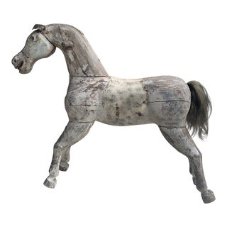 Antique Wooden Carved Horse Statue For Sale