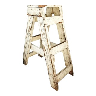 Antique Primitive Farmhouse Country Kitchen White Wood Stool Plant Stand Decor