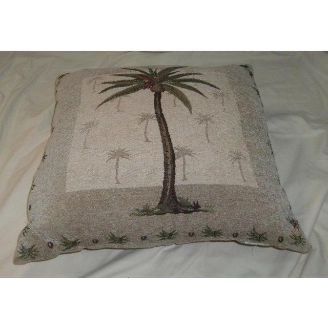 Art Nouveau Vintage Boho Chic Coconut Palm Tree Accent Pillow For Sale - Image 3 of 5