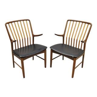 Mid Century Danish Modern Svend A. Madsen for Moreddi Teak Arm Chairs - a Pair For Sale