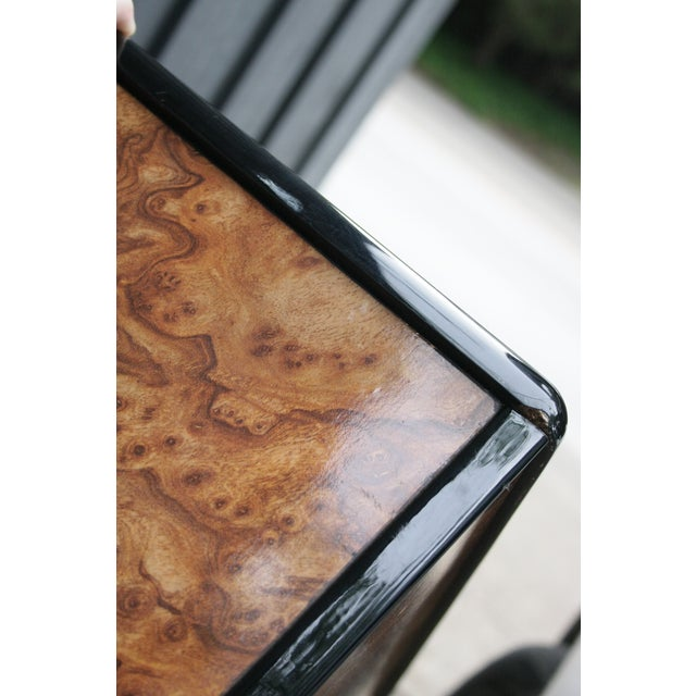 Tan 1980s Contemporary Faux Birdseye Maple Burl Console Table For Sale - Image 8 of 13