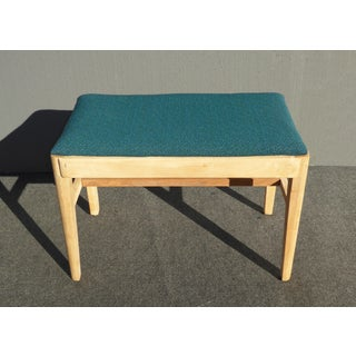 Vintage Mid Century Solid Wood Turquoise Bench Russell Wright Stardust Preview